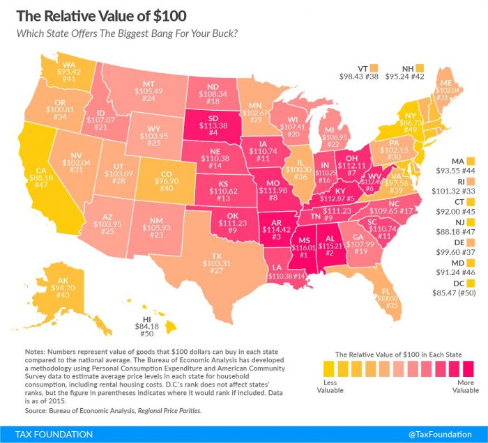 Cost Of Living How Far Will Your Money Go Madison Wealth - Cost of living us map